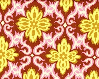 Pink Amy Butler Fabric- Temple Garland Clay designer fabric pink and yellow