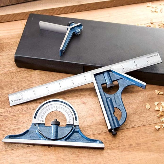 12 inch Combination Square, 3 Piece Set  - Ideal for Wood Working or any profession where accurate measuring is a must