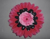 Pink and Black Layered Flower Clip