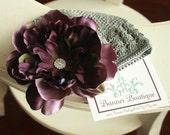 Deep Eggplant Detachable Beanie Flower Clip w Pave rhinestone center..Your Choice Beanie Color...ALL SIZES AVAILABLE