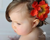 Sonoran Sunset Anenome Flower with Swarovski Crystal Center on Clip or Super Soft Nylon Headband