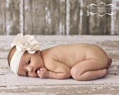 Cream Large Flower Headband with Extra Large Swarvoski Crystal Center on  for Newborns Infants and Toddlers through age 2/3