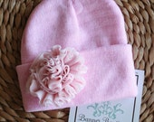 NEW Item...Handmade Chiffon Accent on Knit Beanie...Several Color Options Available...One size fits all