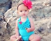 The Scarlet...Bright Pink Chiffon Flower on Black Headband OR Clip...perfect for Newborns Infants Toddlers Girls Women
