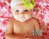Lime Green Flower Headband, Newborn Headband, Soft Headband, White Headband, All Sizes Available, Rhinestones