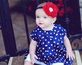The America...Patriotic Headband...Red Lace Flower on Navy Blue Thin Headband with White Beaded Center