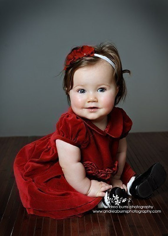 Velvety Red Double Dainty Flower Headband with Swarovski Crystal centers on Soft Stretch White, Cream OR Black Headband  Newborns Infants Toddler Adult  GREAT for CHRISTMAS