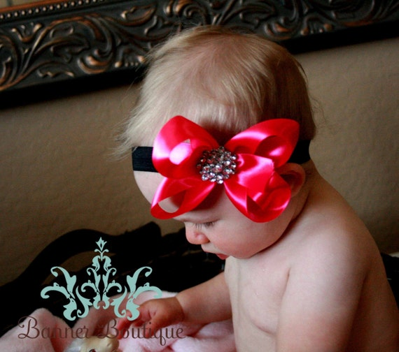 Perfect Princess Satin Bow with Rhinestone Fashion Button Center   VARIOUS sizes and Colors Available
