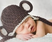 3-6 Month Chocolate Brown Monkey Ear Flap Hat With Chunky Braided Ties READY TO SHIP