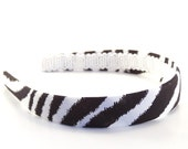 Zebra headband - Black and White - 3/4 inch wide - Animal Print Headbands - Big Girls Headbands, Adult Headbands - Covered Hard Headbands