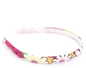 Skinny Flowers and Dots Headband - Bright and Colorful