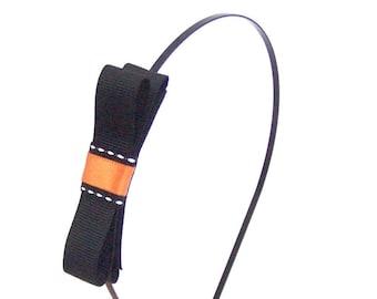 Halloween Headband - Black Metal Skinny Headband with Black, Orange & White Bow Accent