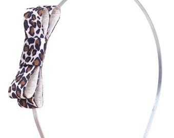 Leopard Bow Headband - Extra Skinny Metal Headband w/ Leopard Bow