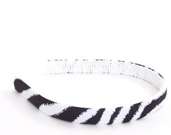 Zebra Headband - half inch wide - Black and White