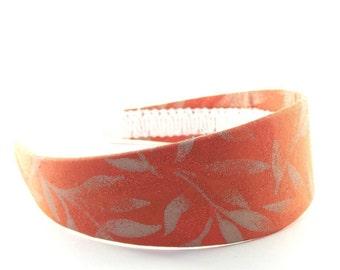 Wide Burnt Orange Headband - Burnt Orange Glittery Autumn / Fall Leaves