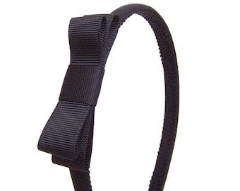 Black Bow Headband - Skinny Headband Solid Black w/ Black Bow, Little Girl Headband, Adult Headband