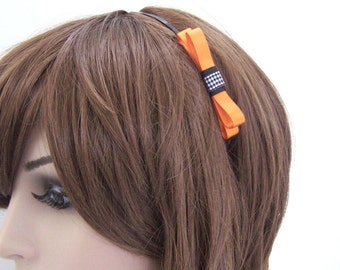 Halloween Headband - Black Metal Skinny Headband with Orange, Black & White Plaid Bow Accent