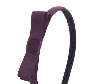 Eggplant Purple Bow Headband - Skinny Headband Solid Eggplant w/ Satin Bow, Little Girl Bow Headband, Adult Bow Headband