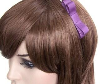 Purple Bow Headband - Skinny Metal Headband w/ Vivid Purple Bow - Bow on Metal headband, Girls or Adult Bow Headband