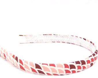 Abstract Headband in Red, Pink and Burgundy - Narrow Width