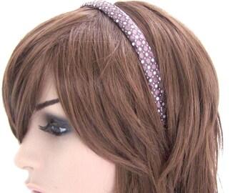 Plum Dots Headband - Plum Purple Satin w/ Polka Dots and Sequins