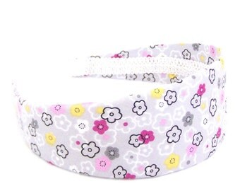 Wide Whimsical Headband - Floral in Gray, Pink and Yellow
