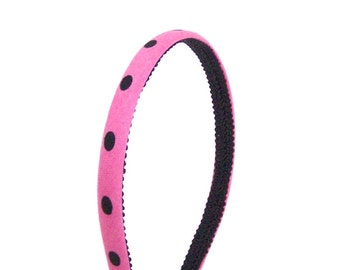 Skinny Fuchsia Dots Headband - Pink and Black Dots