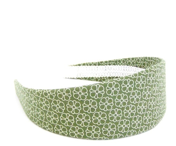 Wide Olive Green Floral Headband