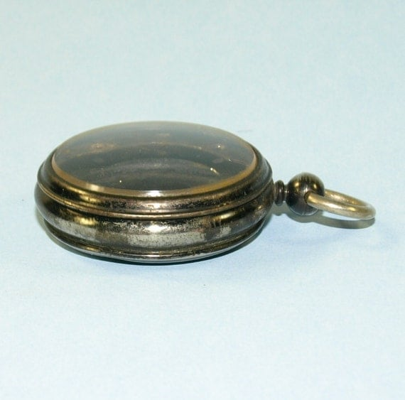 Very Cool old Blue/Black Gun Metal Pocket watch case for Steampunk Art and Jewelry L038