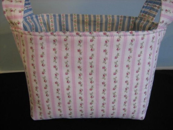 Reversible Fabric Organizer Shabby Pink Rose Blue Basket Bin Storage