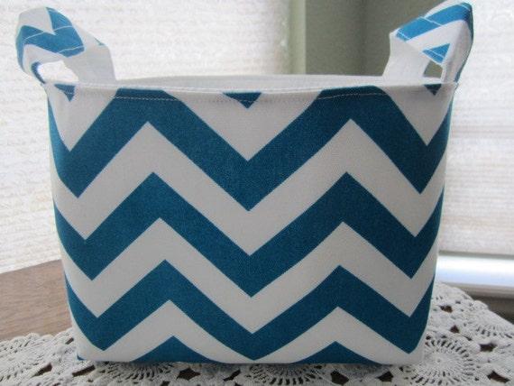 Reversible Fabric Organizer Bin Storage Container Basket Chevron Blue Moon White Zig Zag
