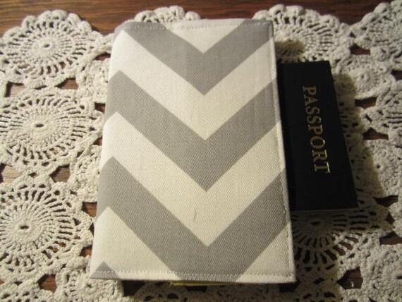 Passport Cover -  Chevron Ash Gray Zig Zag  Holder Mustard lining