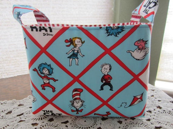 Reversible Organizer Fabric Dr Seuss The Cat In The Hat Blue Basket Bin Storage