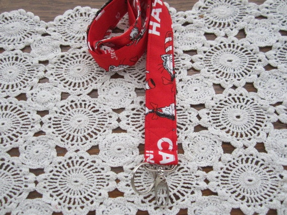 Lanyard Badge Id Key Holder.... Dr Seuss The Cat in the Hat Red