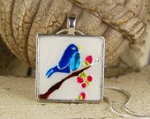 CLEARANCE- Blue Bird of Happiness Necklace- Hand Painted, Embossed Metal, and Resin in Silver Plated Setting with Silver Plated Chain