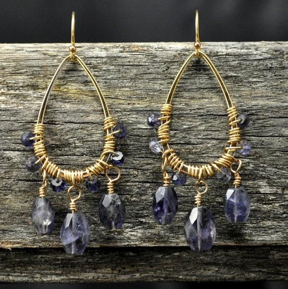 FREE Gift Wrap & Shipping - Iolite Chandelier Gold Earrings