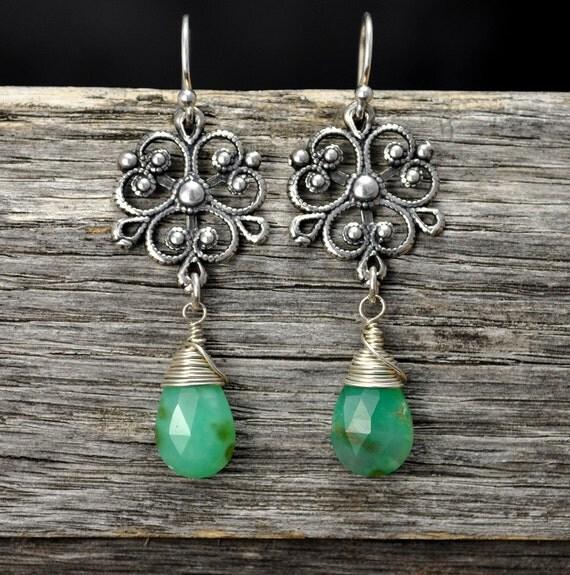Chrysoprase Green Silver Filigree Earrings