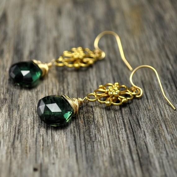 Emerald Green Quartz Gold Filigree Earrings