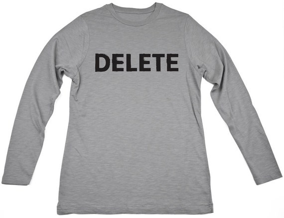 Delete, 100 Percent Cotton Long Sleeve T-shirt, Gray, mens medium