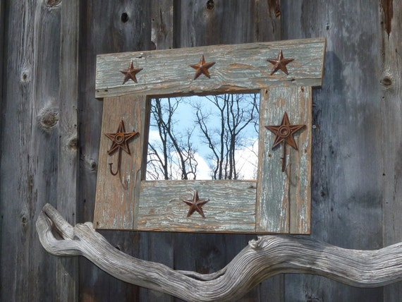 Very Rustic Mirror from Reclaimed Long Leaf Pine with Star Coat Hooks