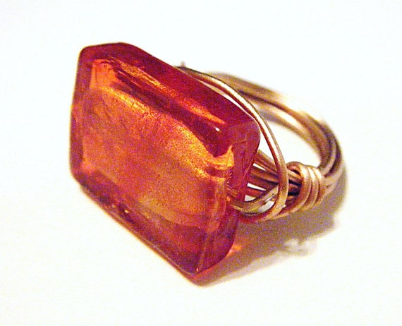Rectangle (Burnt Orange Glass Lampwork )Wire Wrapped Ring SALE ALL ITEMS 15 PERCENT OF LIST PRICE
