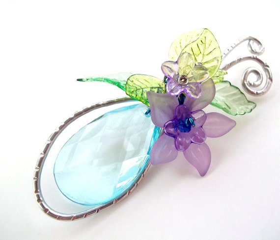 Aquamarine Blue, Green and Lavender Handforged Brooch, wire wrapped, flowers, Easter, Mothers day, spring