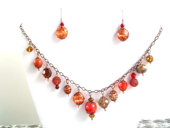 reserved for amy                       Exquisive Orange Medley Necklace and Earring Set