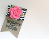 striped bow and felt flower hair clip- pink and black