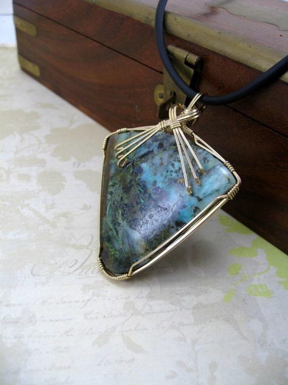 SALE 25% off, Wire Wrapped Pendant, Gentle Chrysocolla, Semi Precious Stone, Gold Filled, RiverGum Jewellery