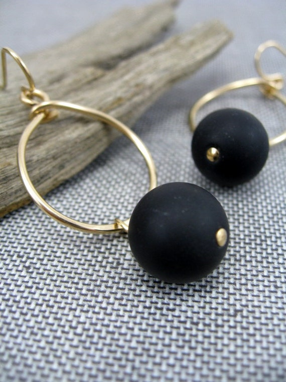 Hoop Earrings, Matte Onyx Drops, Hoops in 14kt Gold Filled Wire, Handformed, RiverGum Jewellery