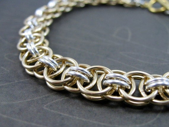 Bracelet, Chain Maille, Chain Mail, Helm Weave, Parallel Chain, Gold Filled & Sterling Silver, RiverGum Jewellery