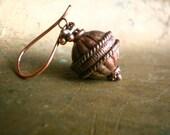 Karang Antique Copper Ethnic Earrings on Bali Style Ear Wires