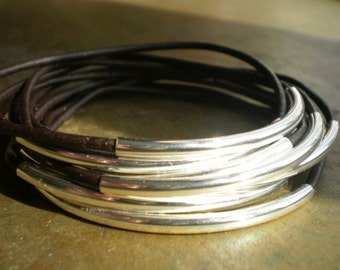 DOUBLE STACK Galveston Dark Espresso Brown Leather and Silver Bangles - Also Available with Gold