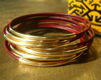 Grenada Burgundy Red Leather and Gold Stacking Bangle Sets